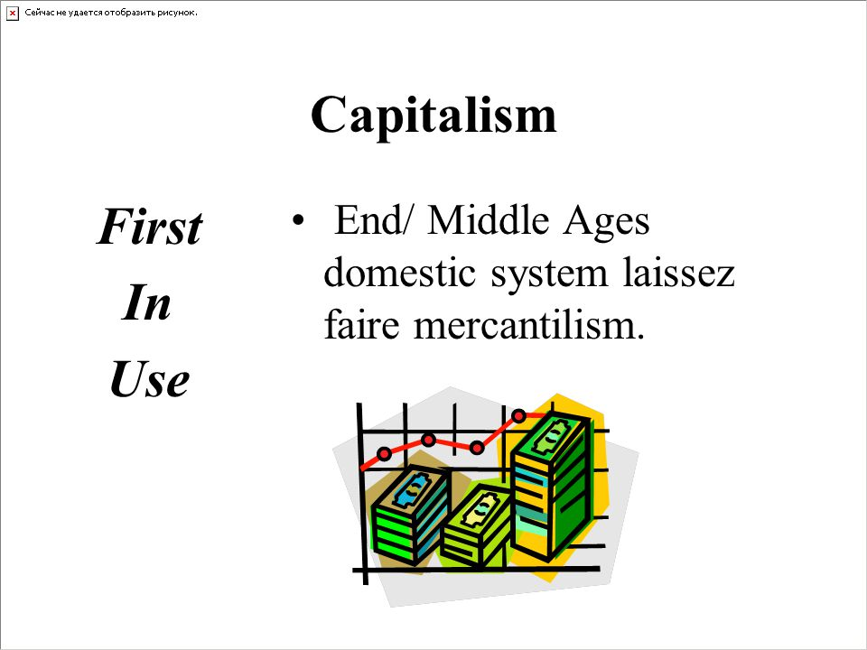 First In Use End/ Middle Ages domestic system laissez faire mercantilism.