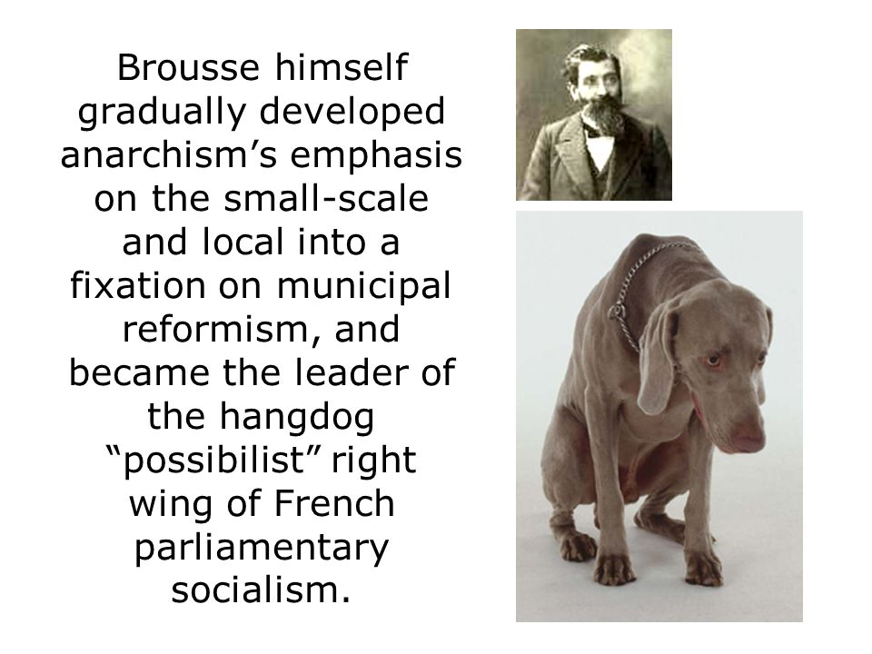 Brousse himself gradually developed anarchism's emphasis on the small-scale and local into a fixation on municipal reformism, and became the leader of the hangdog possibilist right wing of French parliamentary socialism.