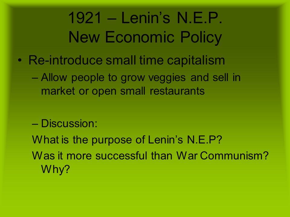 1921 – Lenin's N.E.P.