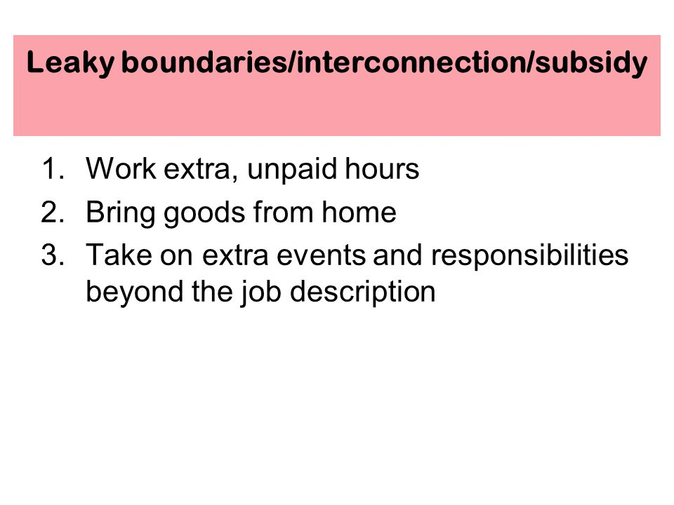 Leaky boundaries/interconnection/subsidy 1.Work extra, unpaid hours 2.Bring goods from home 3.Take on extra events and responsibilities beyond the job description