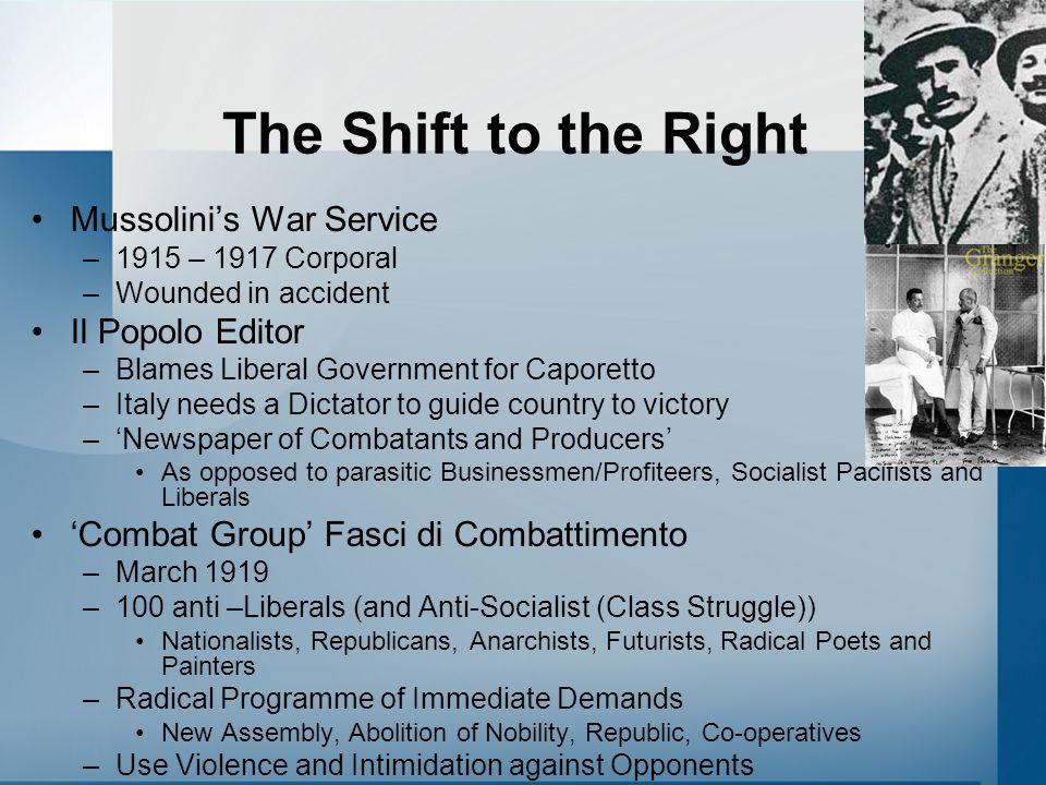 The Shift to the Right Mussolini's War Service –1915 – 1917 Corporal –Wounded in accident Il Popolo Editor –Blames Liberal Government for Caporetto –I