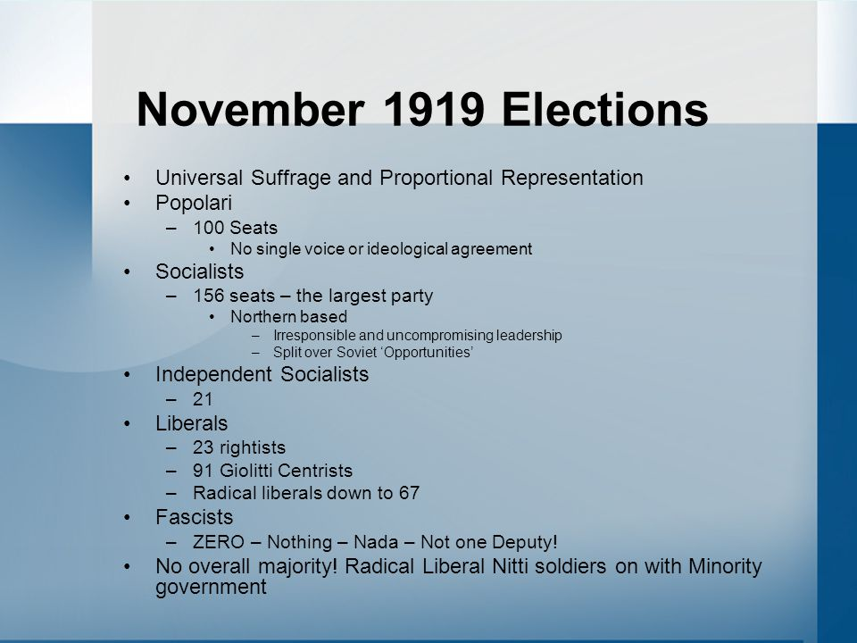 November 1919 Elections Universal Suffrage and Proportional Representation Popolari –100 Seats No single voice or ideological agreement Socialists –15