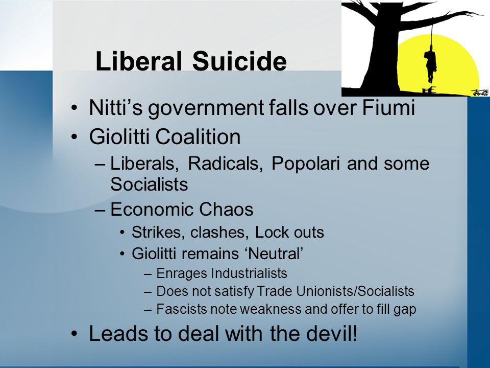 Liberal Suicide Nitti's government falls over Fiumi Giolitti Coalition –Liberals, Radicals, Popolari and some Socialists –Economic Chaos Strikes, clas