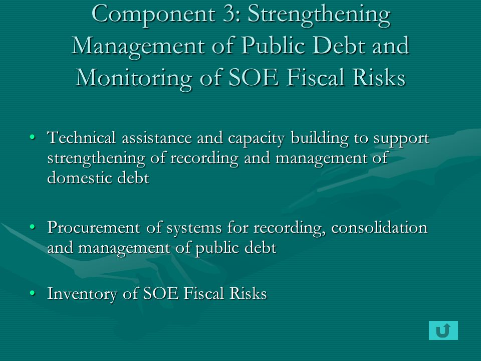 Component 3: Strengthening Management of Public Debt and Monitoring of SOE Fiscal Risks Technical assistance and capacity building to support strength