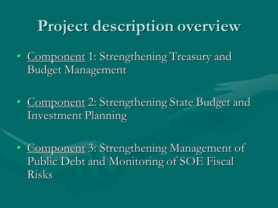Project description overview Component 1: Strengthening Treasury and Budget ManagementComponent 1: Strengthening Treasury and Budget Management Component 2: Strengthening State Budget and Investment PlanningComponent 2: Strengthening State Budget and Investment Planning Component 3: Strengthening Management of Public Debt and Monitoring of SOE Fiscal RisksComponent 3: Strengthening Management of Public Debt and Monitoring of SOE Fiscal Risks