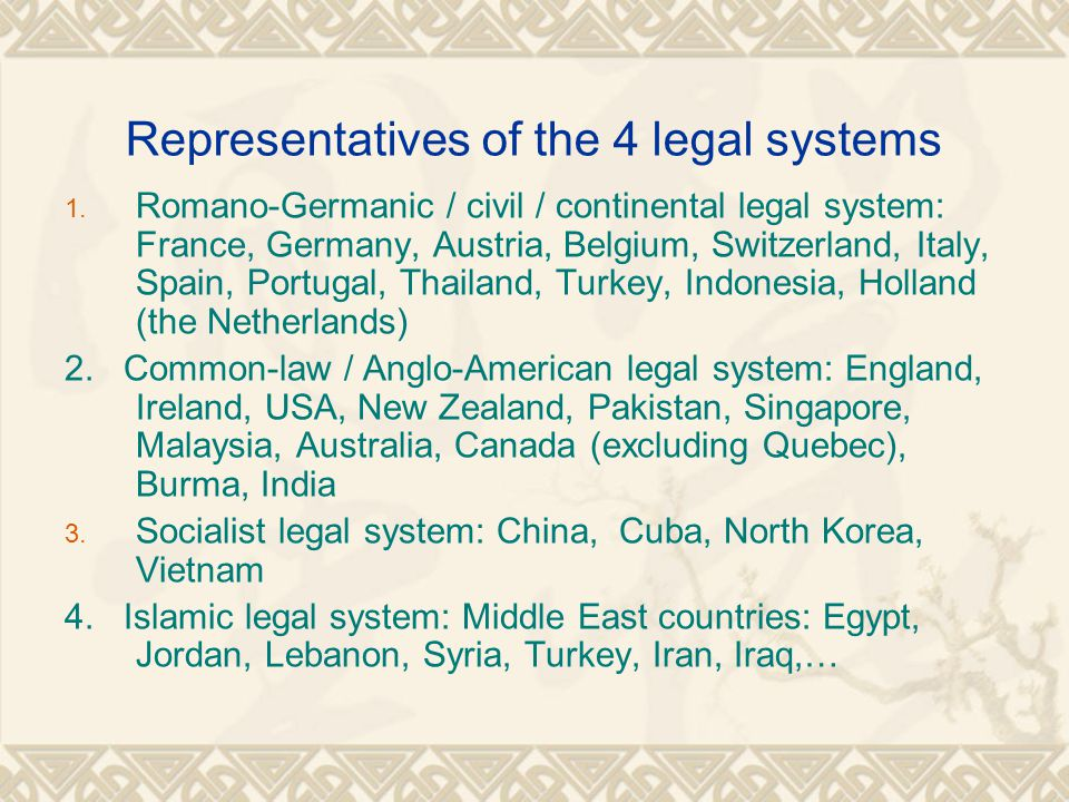 Questions based on part II 1.What are the sources of law in each legal system.