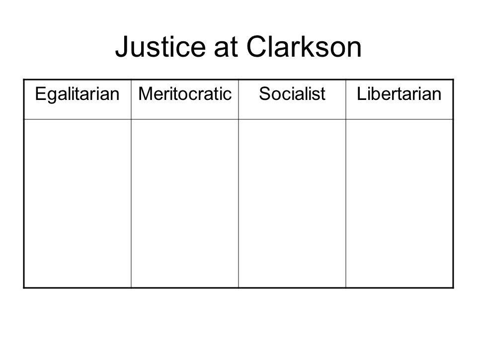 Justice at Clarkson EgalitarianMeritocraticSocialistLibertarian