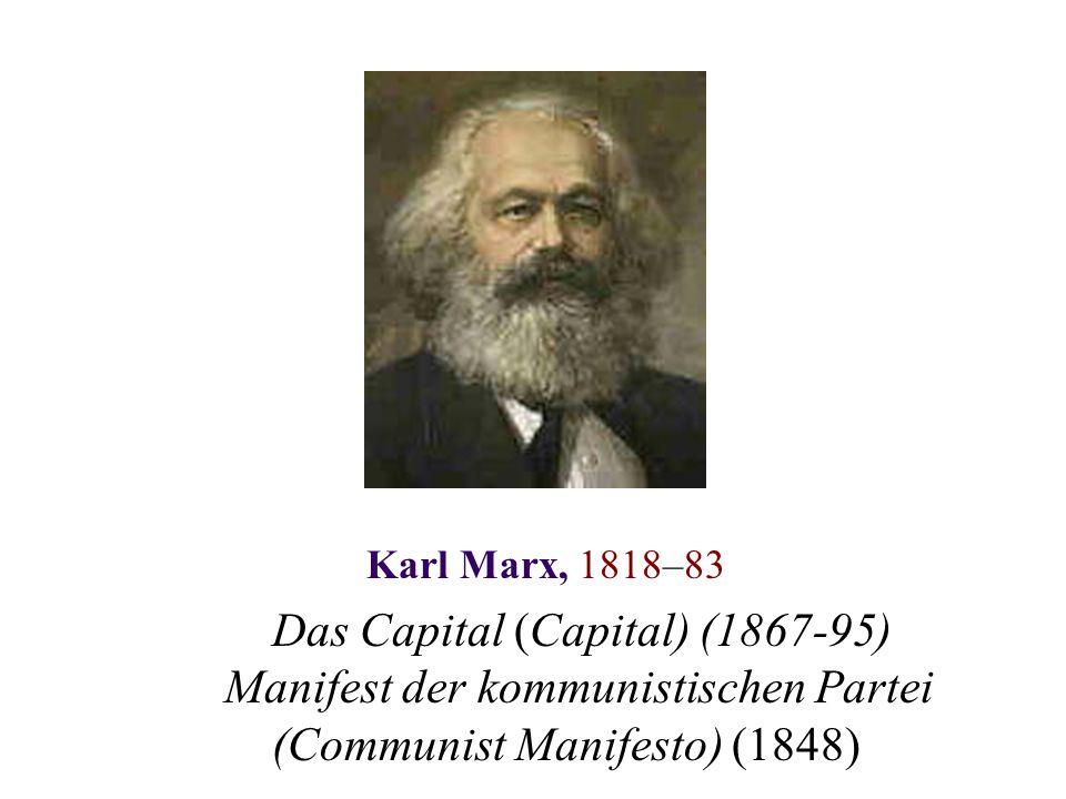 Karl Marx, 1818–83 Das Capital (Capital) (1867-95) Manifest der kommunistischen Partei (Communist Manifesto) (1848)