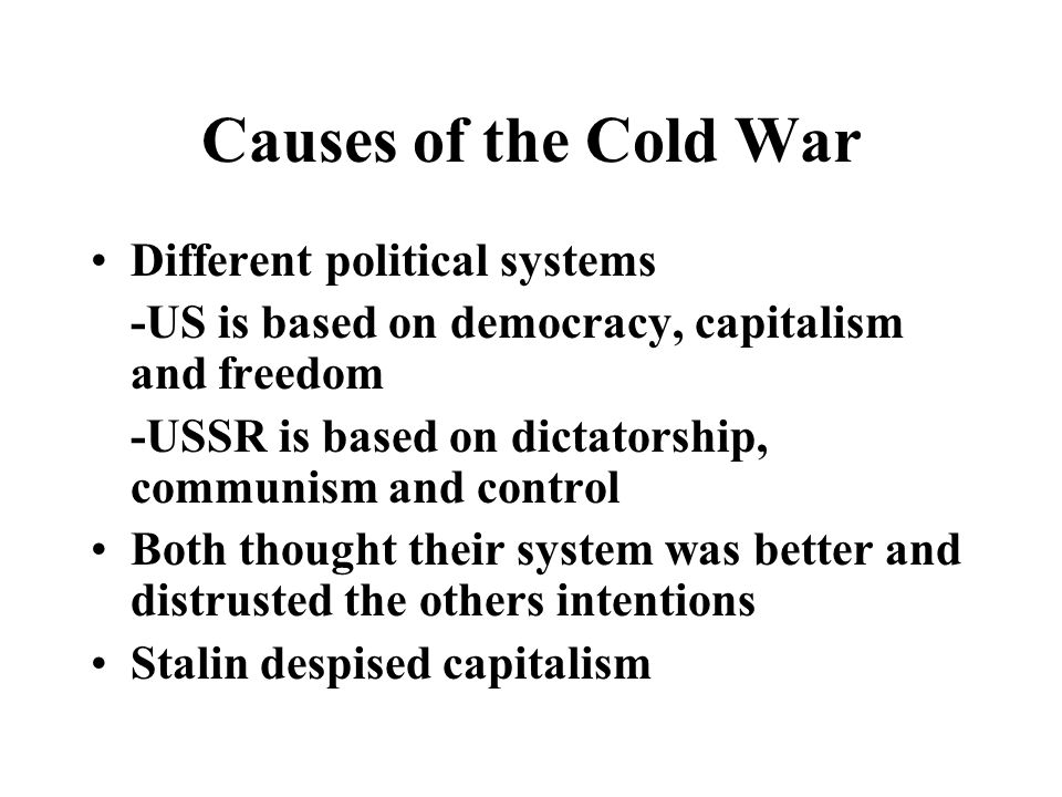 Cold War Characterisitcs A political, strategic and ideological struggle between the US and the USSR that spread throughout the world:Europe, Asia, Africa and Latin America.