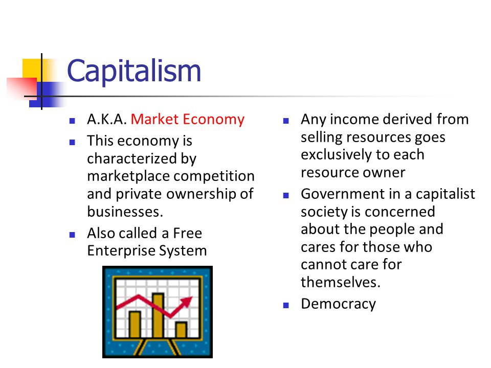 Capitalism A.K.A. Market Economy This economy is characterized by marketplace competition and private ownership of businesses. Also called a Free Ente