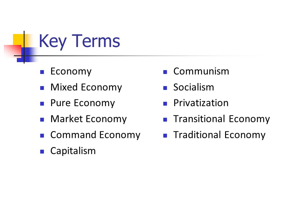 Key Terms Economy Mixed Economy Pure Economy Market Economy Command Economy Capitalism Communism Socialism Privatization Transitional Economy Traditional Economy