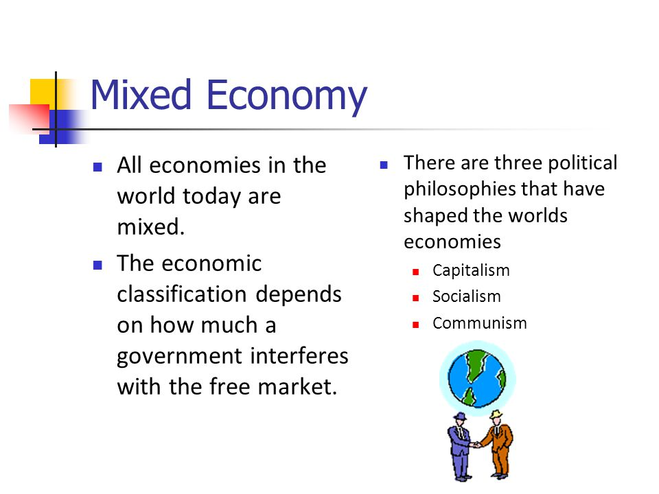 Mixed Economy All economies in the world today are mixed.