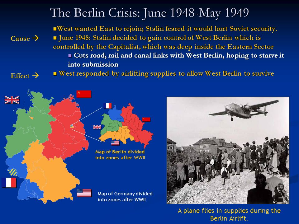 The Berlin Crisis: June 1948-May 1949 West wanted East to rejoin; Stalin feared it would hurt Soviet security.