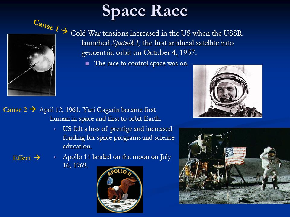 Space Race Cold War tensions increased in the US when the USSR launched Sputnik I, the first artificial satellite into geocentric orbit on October 4, 1957.