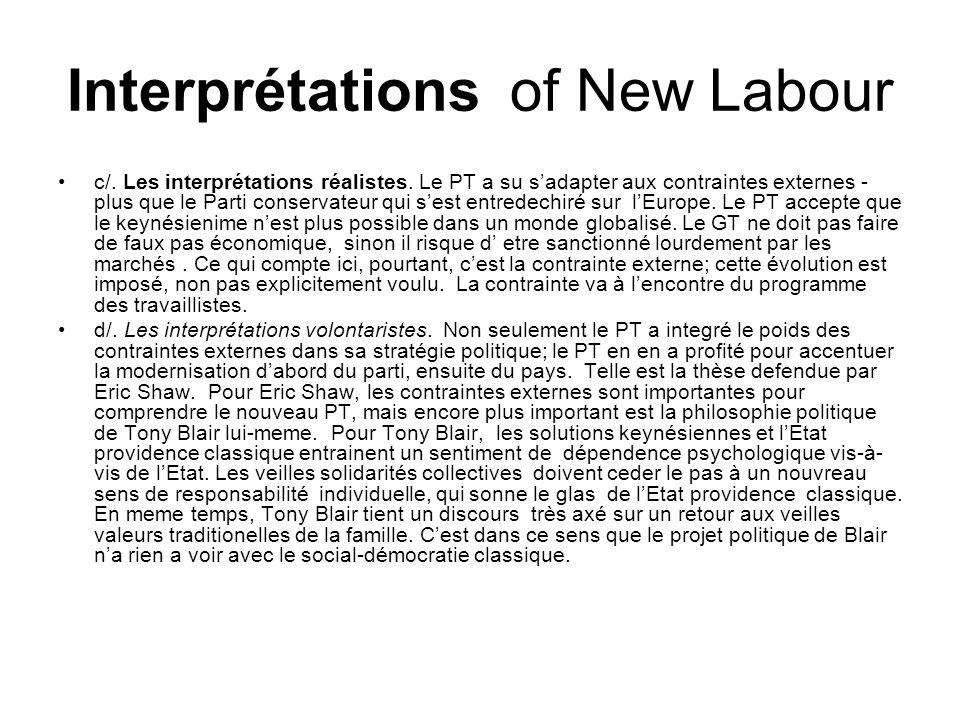 Interprétations of New Labour c/.Les interprétations réalistes.