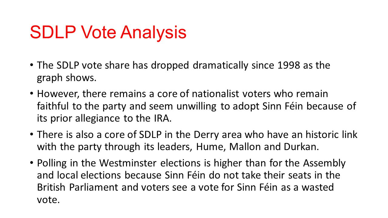 SDLP Vote Analysis The SDLP vote share has dropped dramatically since 1998 as the graph shows. However, there remains a core of nationalist voters who