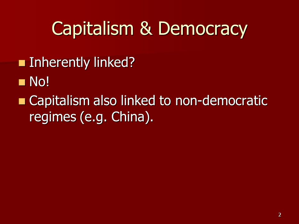 23 Democratic Socialism (Social Democracy) Characterized as follows: Characterized as follows: a) much property held by the public through democratically elected government, including major industries, utilities, and transportation systems; b) a limit on the accumulation of private property; c) government regulation of the economy; d) extensive publicly financed assistance and pension programs; e) social costs added to financial considerations as measure of efficiency.
