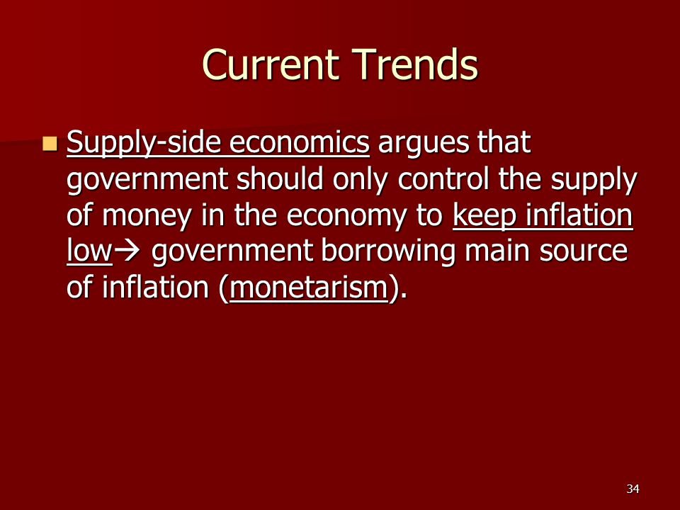 34 Current Trends Supply-side economics argues that government should only control the supply of money in the economy to keep inflation low  governme