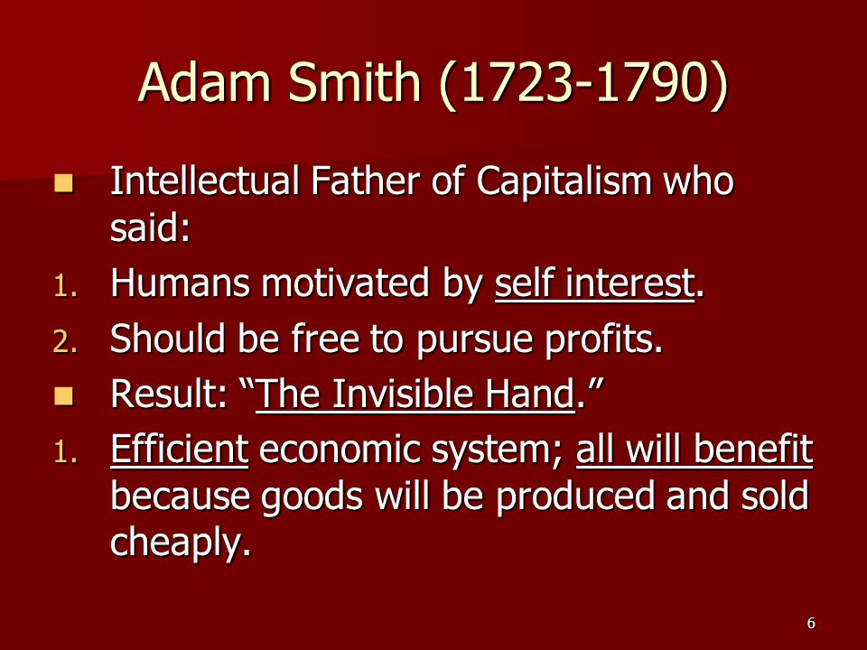 17 Capitalists & Democracy Capitalists argue that democracy requires capitalism because of freedom to accumulate.