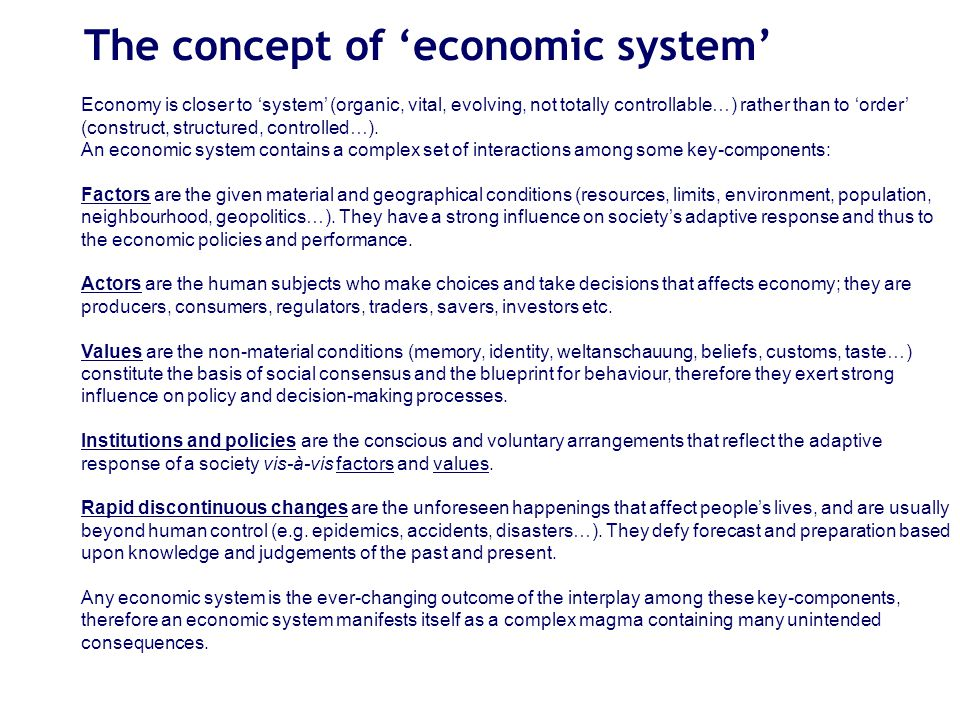 The concept of 'economic system' Economy is closer to 'system' (organic, vital, evolving, not totally controllable…) rather than to 'order' (construct, structured, controlled…).