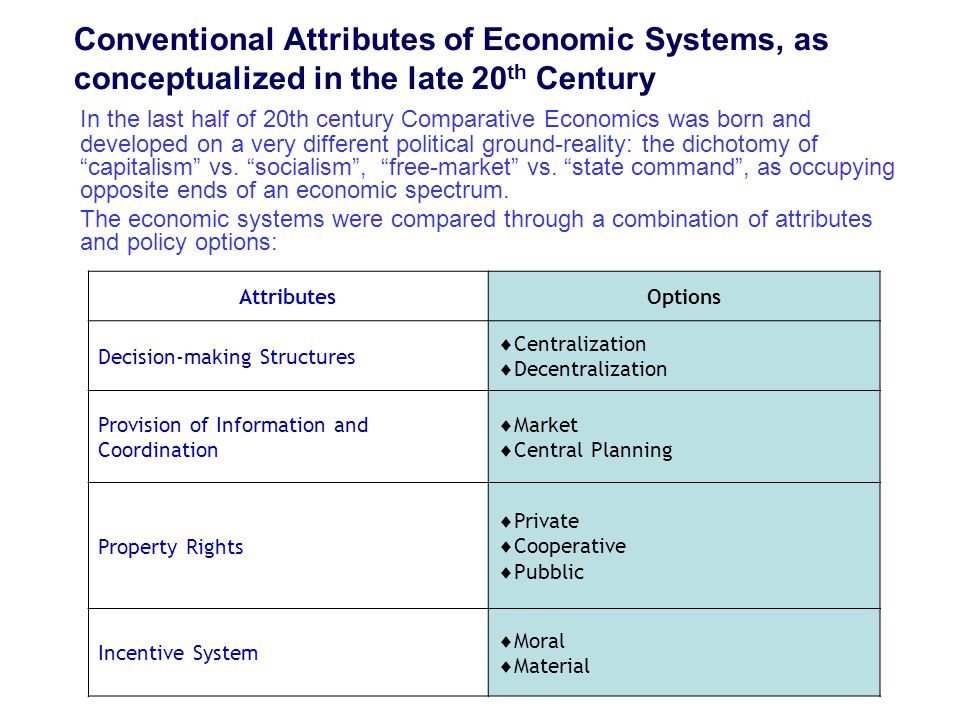 Conventional Attributes of Economic Systems, as conceptualized in the late 20 th Century AttributesOptions Decision-making Structures  Centralization  Decentralization Provision of Information and Coordination  Market  Central Planning Property Rights  Private  Cooperative  Pubblic Incentive System  Moral  Material In the last half of 20th century Comparative Economics was born and developed on a very different political ground-reality: the dichotomy of capitalism vs.