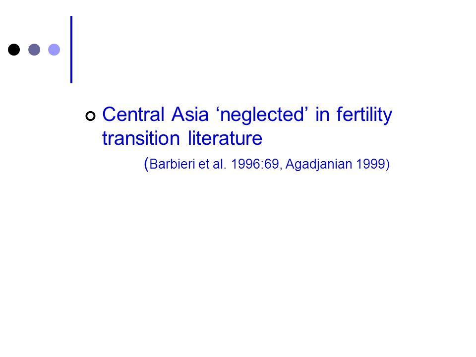 Central Asia 'neglected' in fertility transition literature ( Barbieri et al.