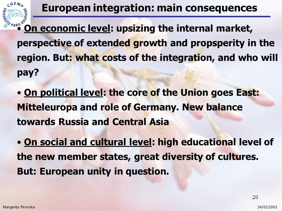 20 European integration: main consequences Margarita Pirovska 24/02/2003 On economic level: upsizing the internal market, perspective of extended growth and propsperity in the region.