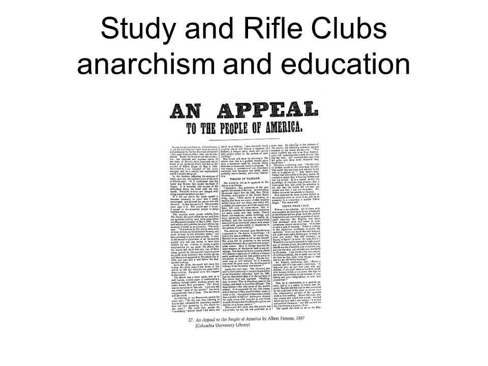 Study and Rifle Clubs anarchism and education