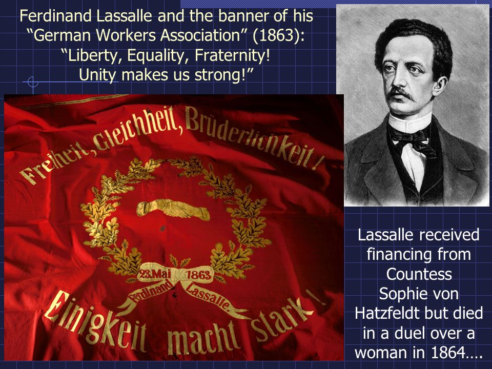 Ferdinand Lassalle and the banner of his German Workers Association (1863): Liberty, Equality, Fraternity.