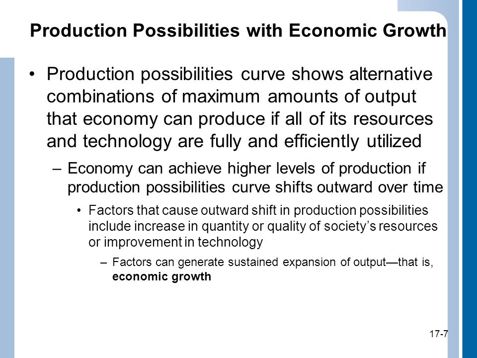 17-7 Production Possibilities with Economic Growth Production possibilities curve shows alternative combinations of maximum amounts of output that economy can produce if all of its resources and technology are fully and efficiently utilized –Economy can achieve higher levels of production if production possibilities curve shifts outward over time Factors that cause outward shift in production possibilities include increase in quantity or quality of society's resources or improvement in technology –Factors can generate sustained expansion of output—that is, economic growth 17-7