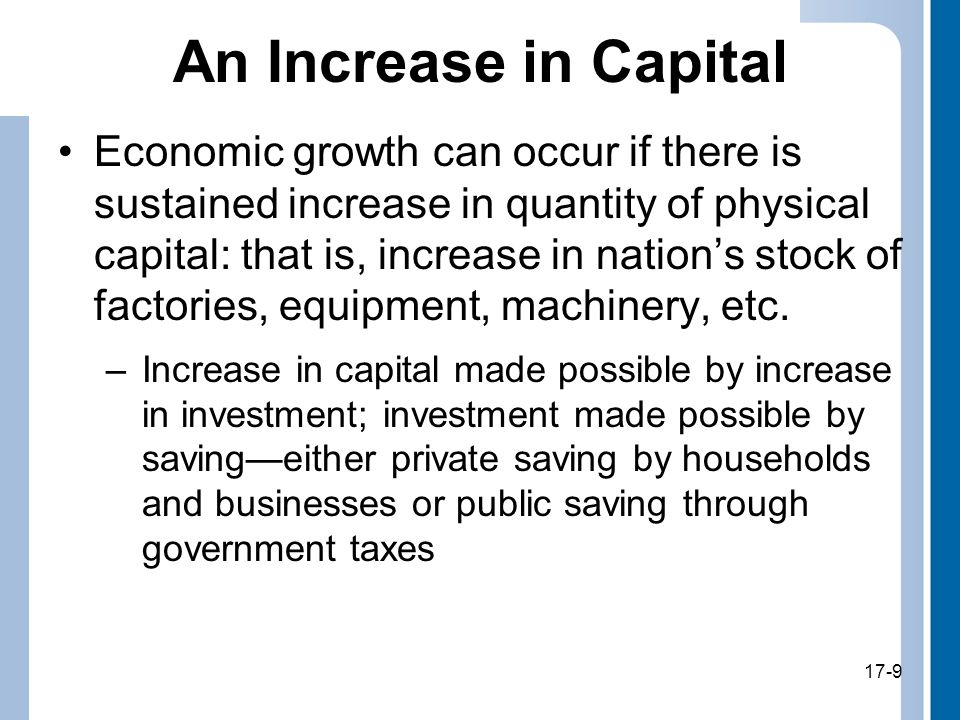 17-9 An Increase in Capital Economic growth can occur if there is sustained increase in quantity of physical capital: that is, increase in nation's stock of factories, equipment, machinery, etc.