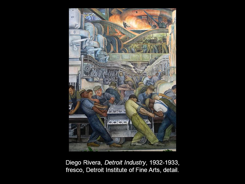 Diego Rivera, Detroit Industry, 1932-1933, fresco, Detroit Institute of Fine Arts, detail.