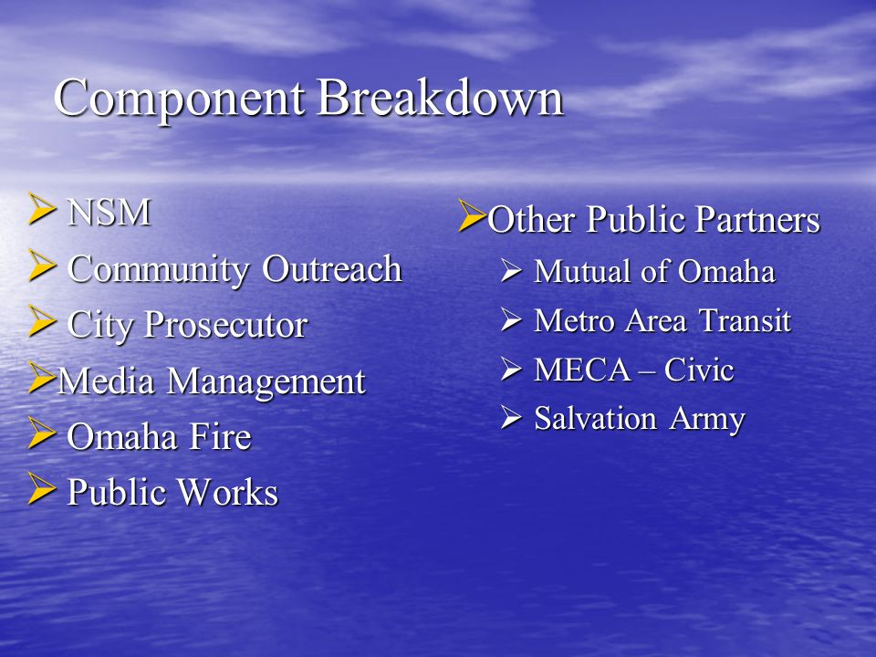 Component Breakdown  NSM  Community Outreach  City Prosecutor  Media Management  Omaha Fire  Public Works  Other Public Partners  Mutual of Omaha  Metro Area Transit  MECA – Civic  Salvation Army
