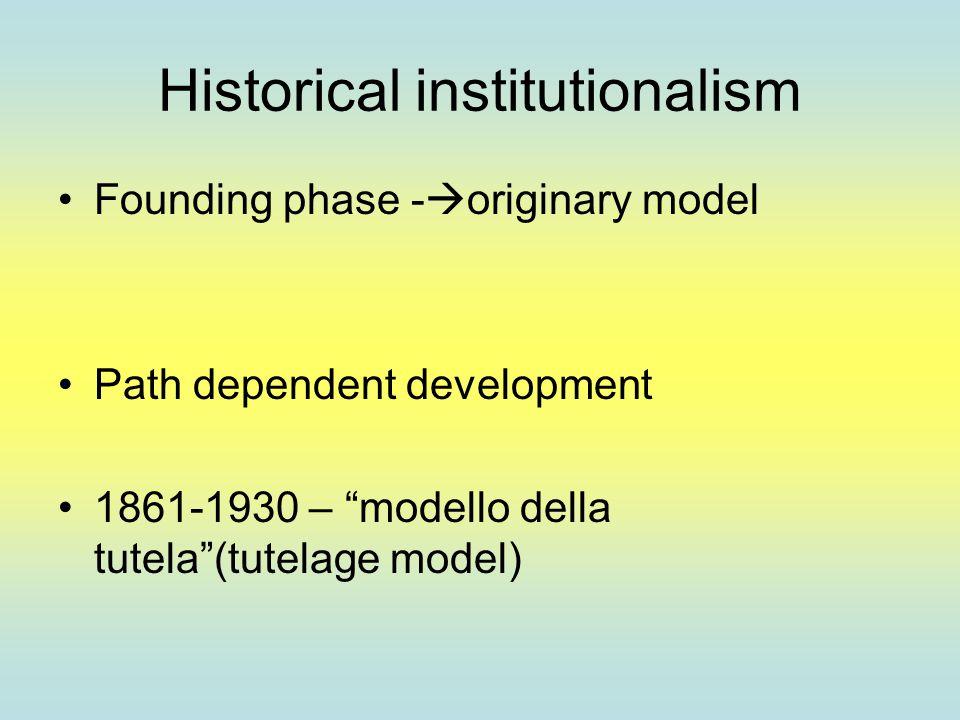 Historical institutionalism Founding phase -  originary model Path dependent development 1861-1930 – modello della tutela (tutelage model)
