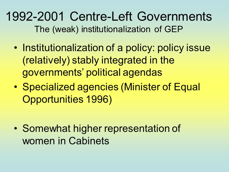 1992-2001 Centre-Left Governments The (weak) institutionalization of GEP Institutionalization of a policy: policy issue (relatively) stably integrated