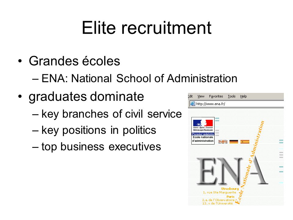 Elite recruitment Grandes écoles –ENA: National School of Administration graduates dominate –key branches of civil service –key positions in politics –top business executives