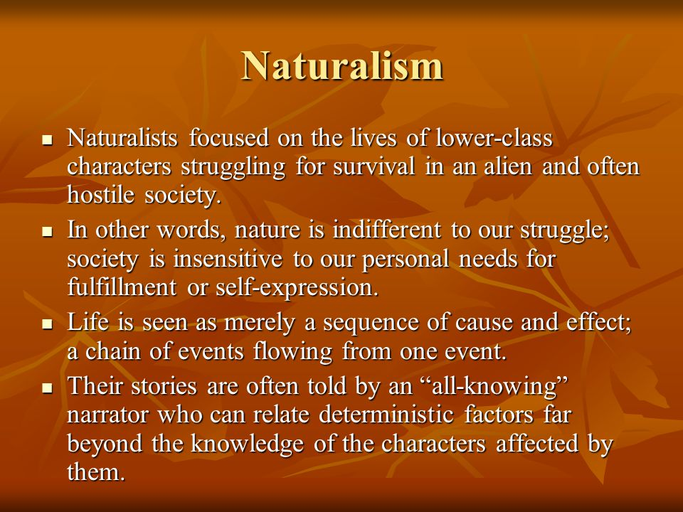 Naturalism Naturalists focused on the lives of lower-class characters struggling for survival in an alien and often hostile society. Naturalists focus