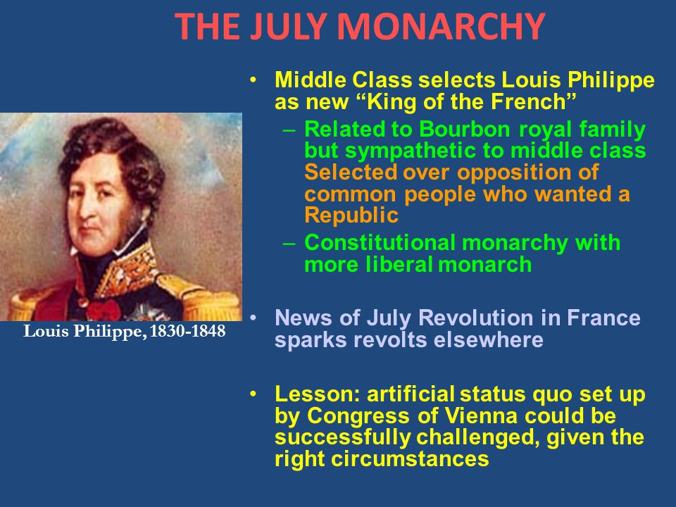 THE JULY MONARCHY Middle Class selects Louis Philippe as new King of the French –Related to Bourbon royal family but sympathetic to middle class Selected over opposition of common people who wanted a Republic –Constitutional monarchy with more liberal monarch News of July Revolution in France sparks revolts elsewhere Lesson: artificial status quo set up by Congress of Vienna could be successfully challenged, given the right circumstances Louis Philippe, 1830-1848