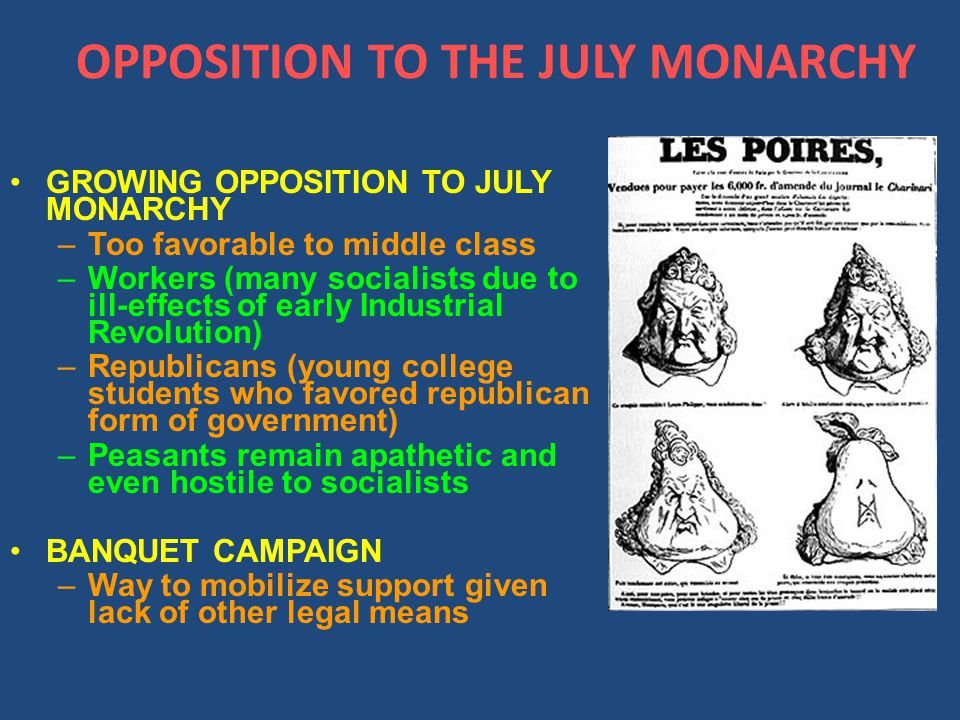 OPPOSITION TO THE JULY MONARCHY GROWING OPPOSITION TO JULY MONARCHY –Too favorable to middle class –Workers (many socialists due to ill-effects of early Industrial Revolution) –Republicans (young college students who favored republican form of government) –Peasants remain apathetic and even hostile to socialists BANQUET CAMPAIGN –Way to mobilize support given lack of other legal means