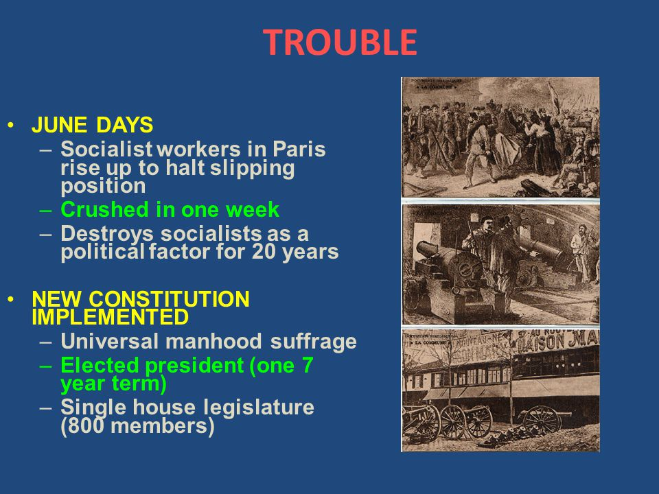 TROUBLE JUNE DAYS –Socialist workers in Paris rise up to halt slipping position –Crushed in one week –Destroys socialists as a political factor for 20 years NEW CONSTITUTION IMPLEMENTED –Universal manhood suffrage –Elected president (one 7 year term) –Single house legislature (800 members)