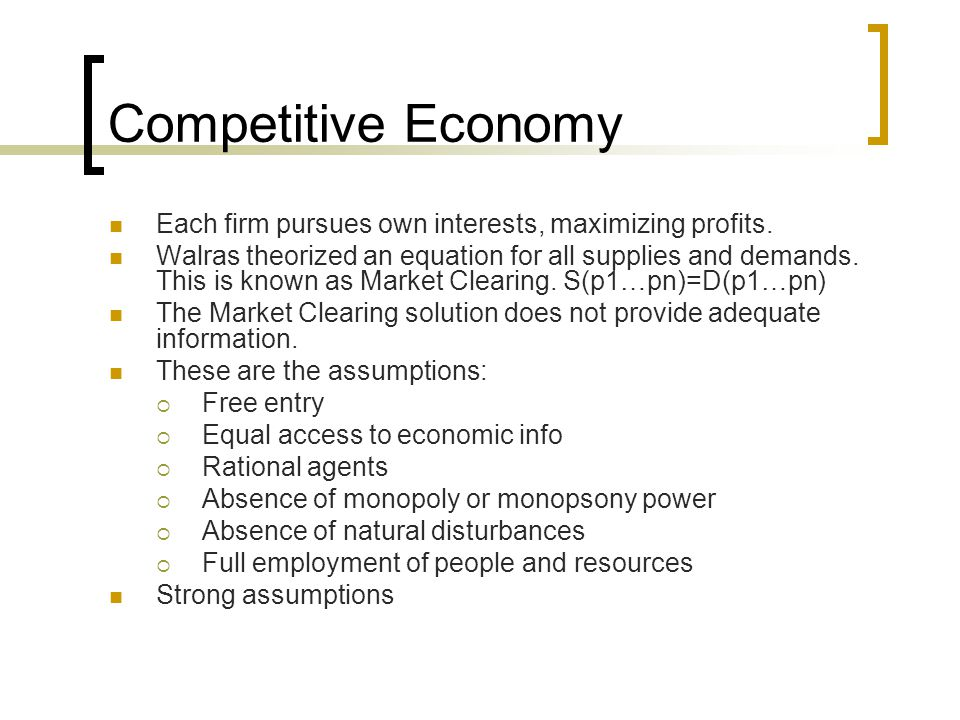 Competitive Economy Each firm pursues own interests, maximizing profits.