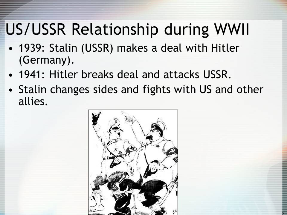1 The Cold War 1945-1990 US vs. Union of Soviet Socialist Republics Democracy vs.