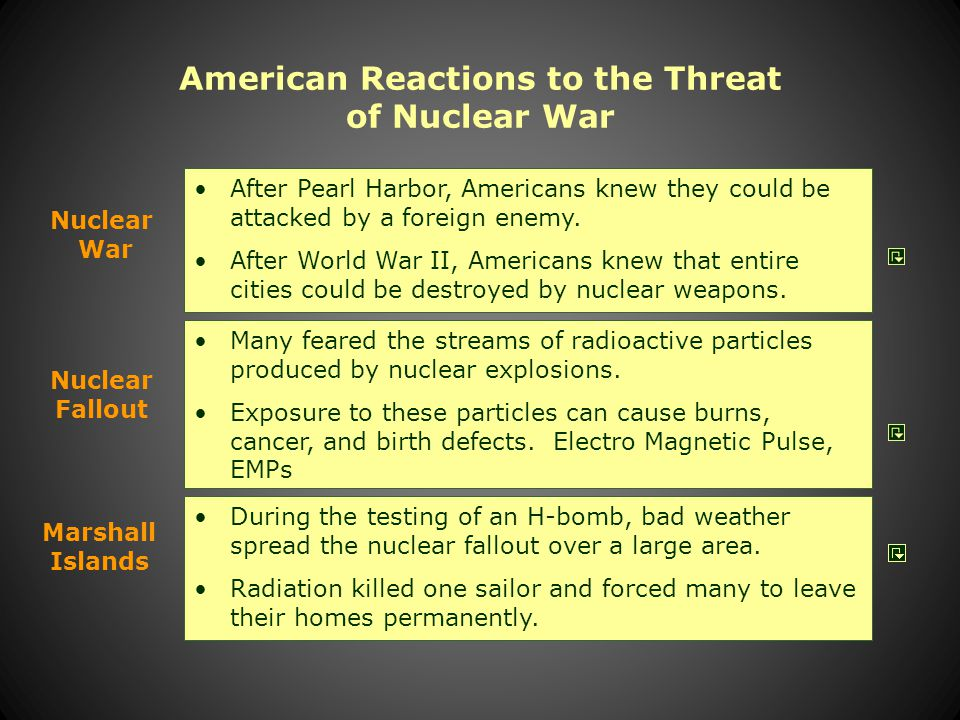 American Reactions to the Threat of Nuclear War Many feared the streams of radioactive particles produced by nuclear explosions.