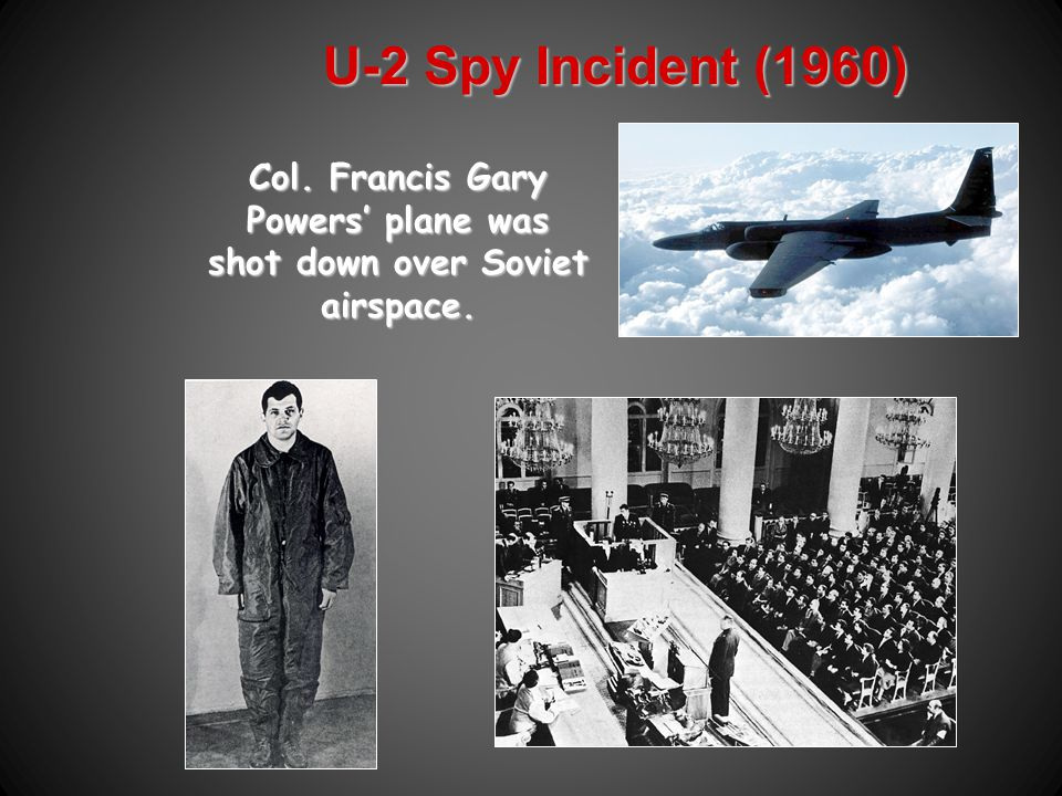 U2 1960 1960 U2 was a spy plane U2 was a spy plane Able to fly 60,000ft at high altitudes Able to fly 60,000ft at high altitudes Could take photos of Soviet bomber bases and missile sites Could take photos of Soviet bomber bases and missile sites