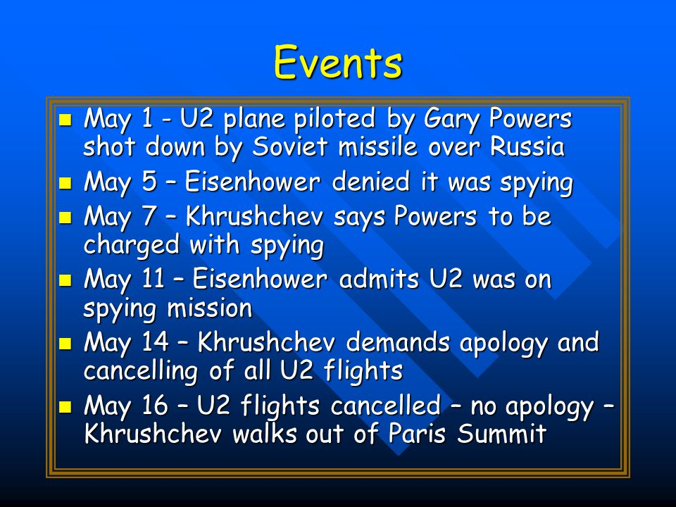 Events May 1 - U2 plane piloted by Gary Powers shot down by Soviet missile over Russia May 1 - U2 plane piloted by Gary Powers shot down by Soviet missile over Russia May 5 – Eisenhower denied it was spying May 5 – Eisenhower denied it was spying May 7 – Khrushchev says Powers to be charged with spying May 7 – Khrushchev says Powers to be charged with spying May 11 – Eisenhower admits U2 was on spying mission May 11 – Eisenhower admits U2 was on spying mission May 14 – Khrushchev demands apology and cancelling of all U2 flights May 14 – Khrushchev demands apology and cancelling of all U2 flights May 16 – U2 flights cancelled – no apology – Khrushchev walks out of Paris Summit May 16 – U2 flights cancelled – no apology – Khrushchev walks out of Paris Summit
