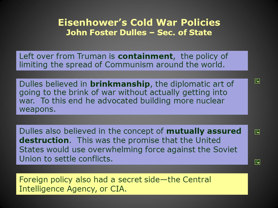 71 Eisenhower Doctrine The Eisenhower Doctrine was announced in a speech to Congress on January 5, 1957.