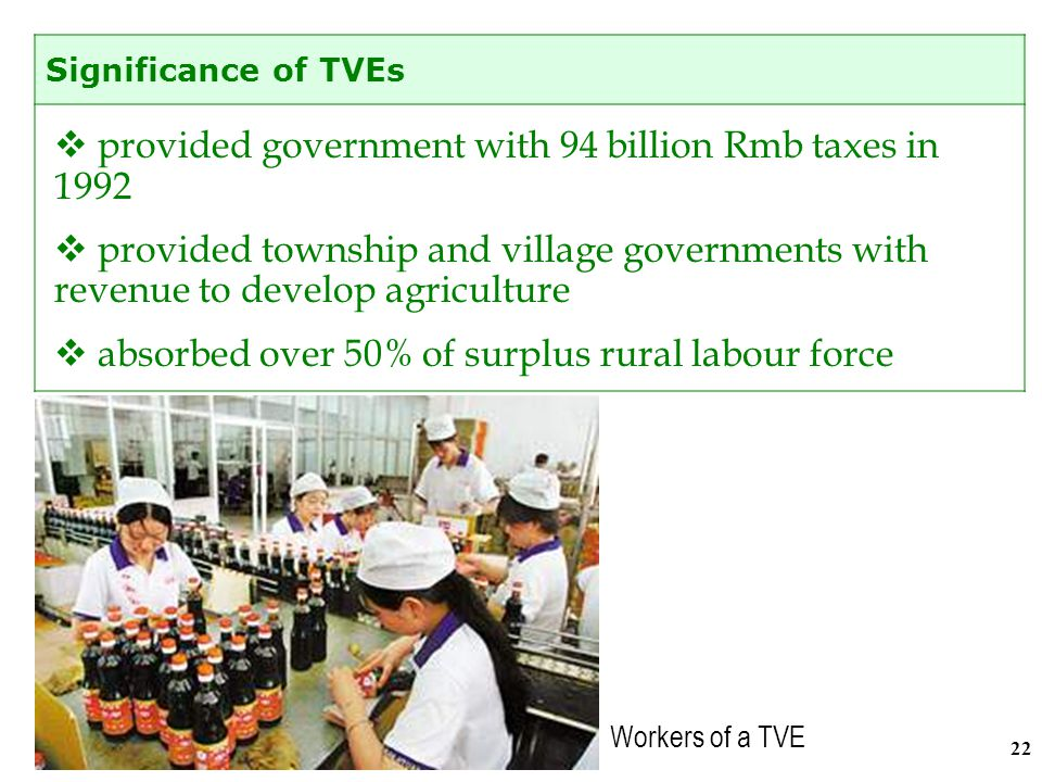 21 The number of TVEs and workers engaged in these enterprises increased rapidly in the last 20 years.