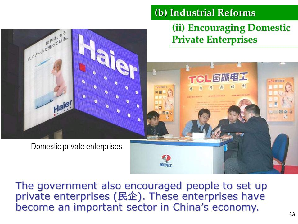 22 Significance of TVEs  provided government with 94 billion Rmb taxes in 1992  provided township and village governments with revenue to develop ag