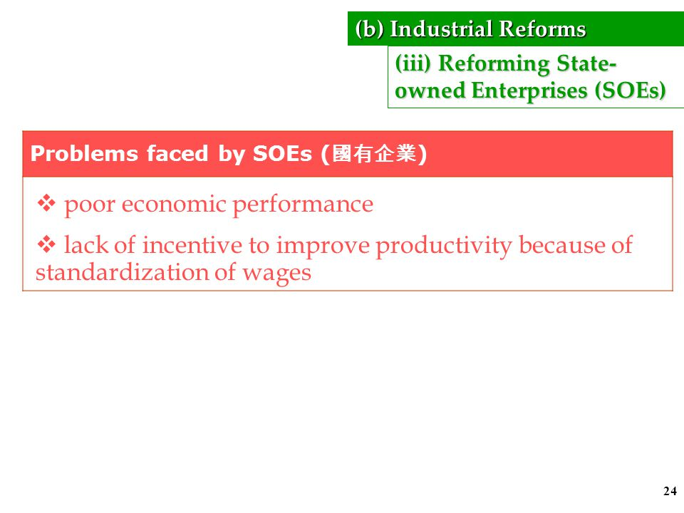 23 (b) Industrial Reforms (ii) Encouraging Domestic Private Enterprises The government also encouraged people to set up private enterprises ( 民企 ). Th