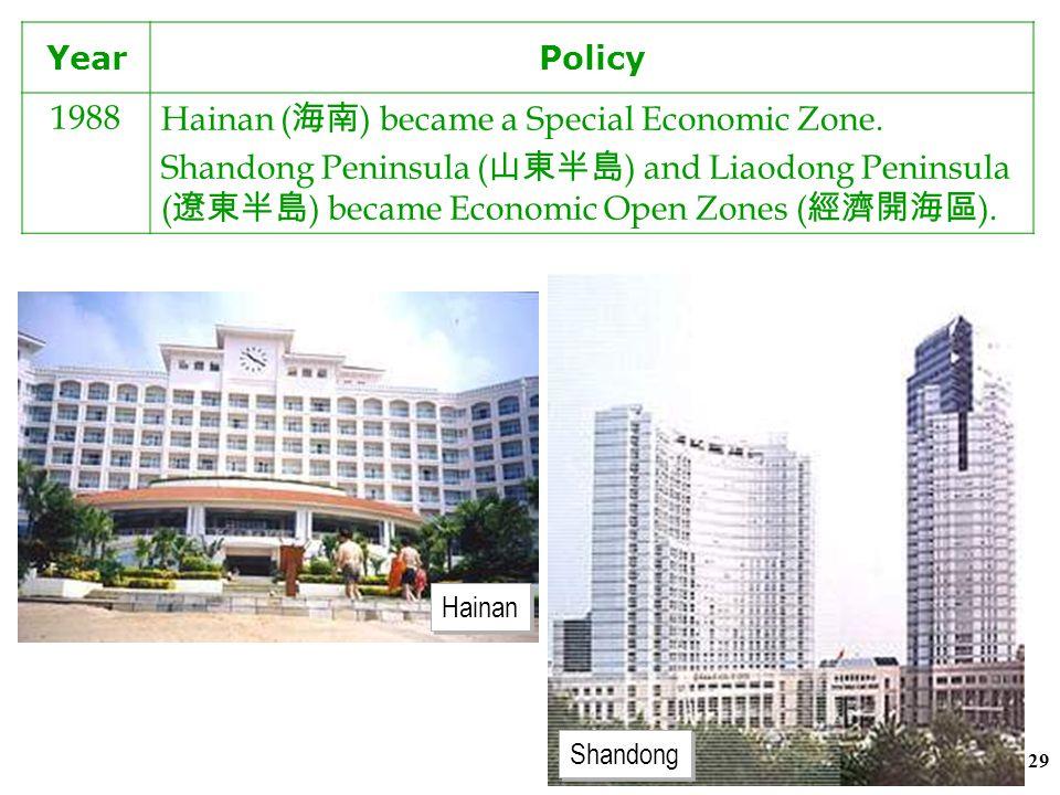 28 YearPolicy 1984Three Economic Open Zones were set up in the Changjiang Delta, the Zhujiang Delta and the Xiamen- Zhangzhou-Quanzhou Triangle ( 廈門 —